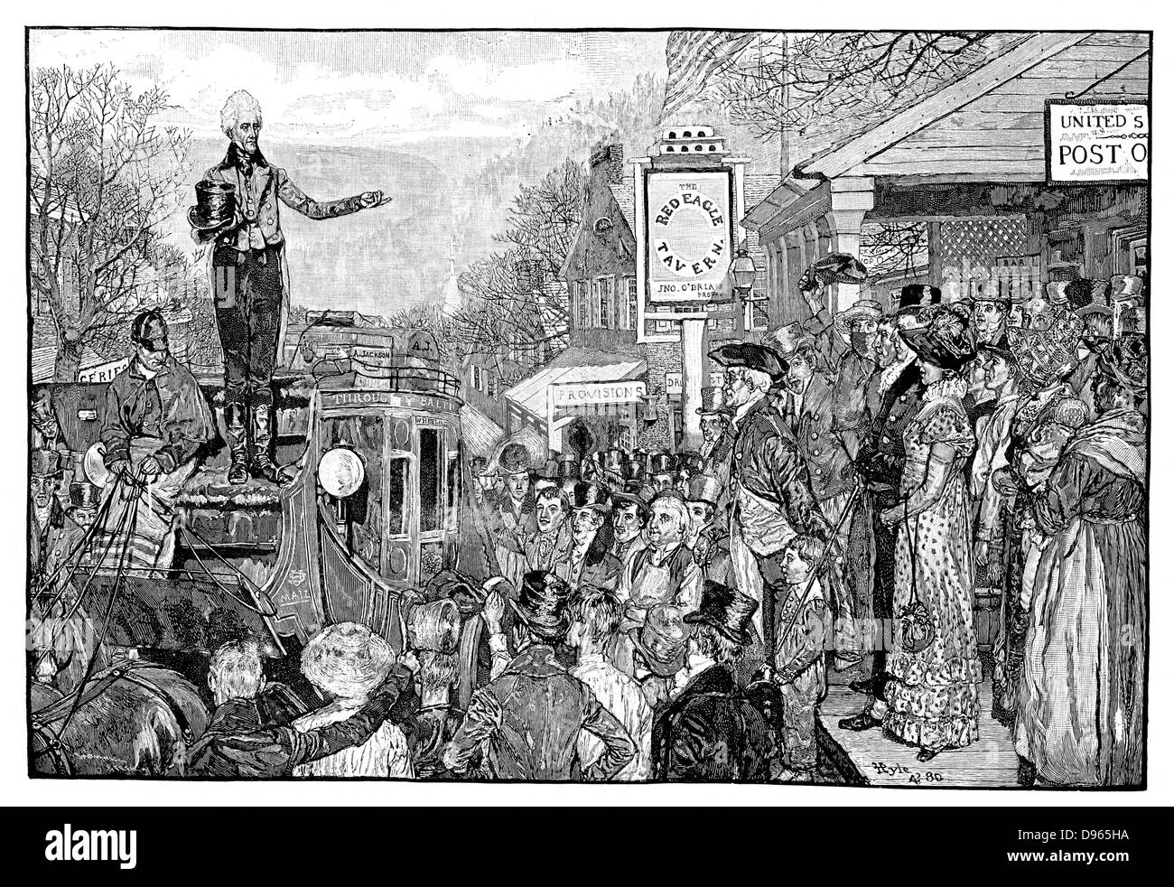 Andrew Jackson (1767-1845), 7th president of the USA, as President-elect, delivering a speech from the driver's - Stock Image