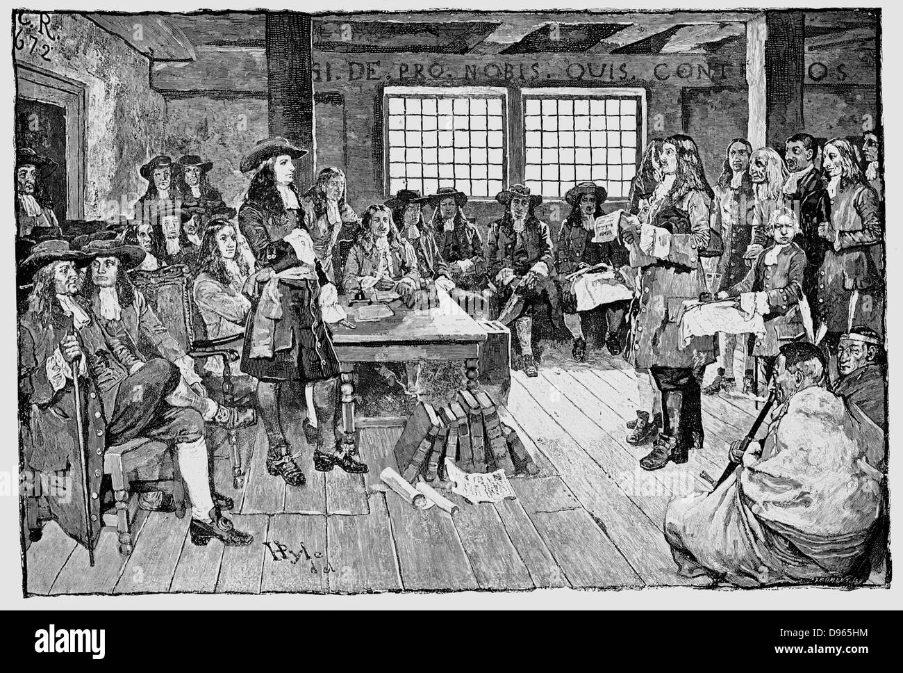 William Penn (1644-1718) English Quaker and colonialist, founder of Pennsylvania. Penn in conference with Colonialists, Stock Photo