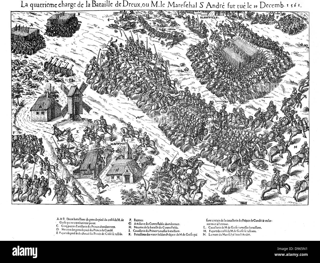 French Religious Wars 1562-1598. Fourth charge at the battle of Dreux, 19 December 1562.  Constable of France, Anne - Stock Image
