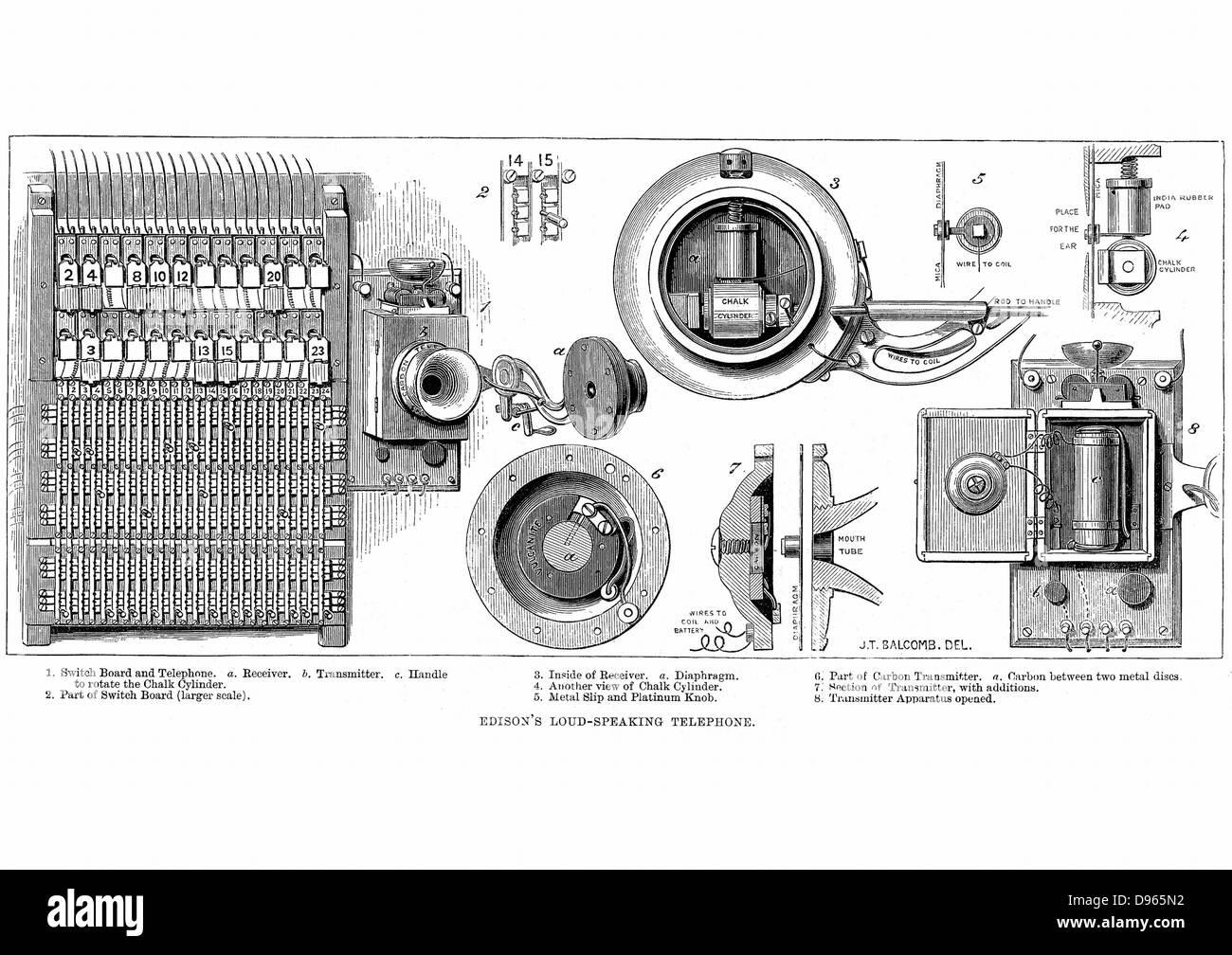 Edison carbon telephone.  Wood engraving, London, 1879 - Stock Image