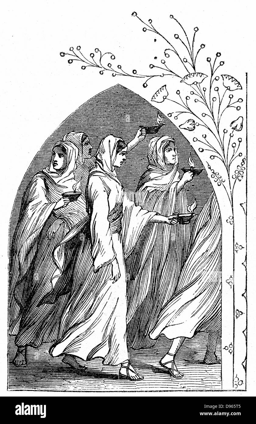 The Wise Virgins going to meet the bridegroom, their lamps shining brightly. 'Bible' Matthew 25. Wood engraving - Stock Image