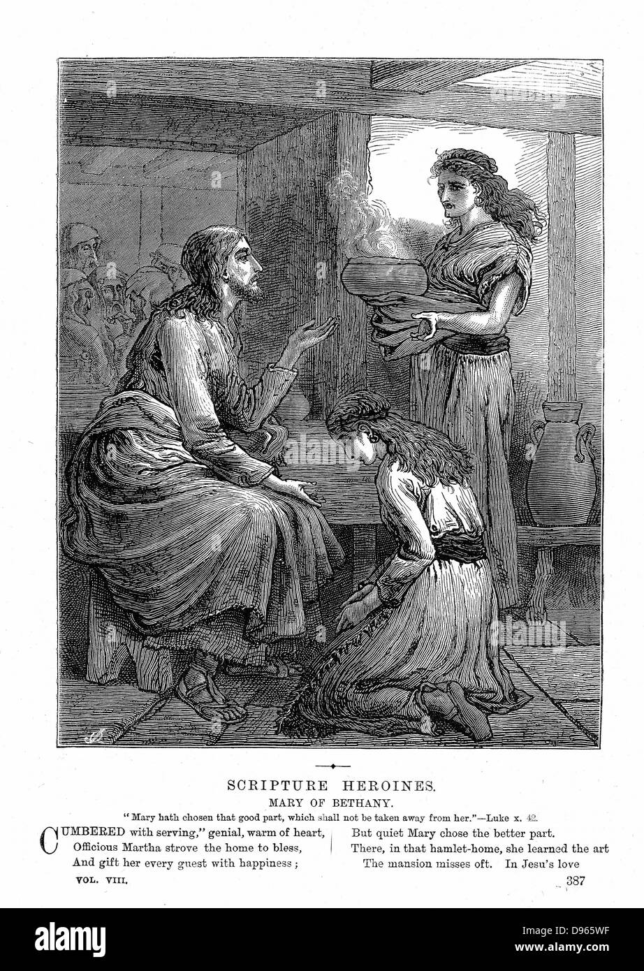 Jesus with Mary and Martha. 'Bible': Luke X. 42. Wood engraving c1870 - Stock Image