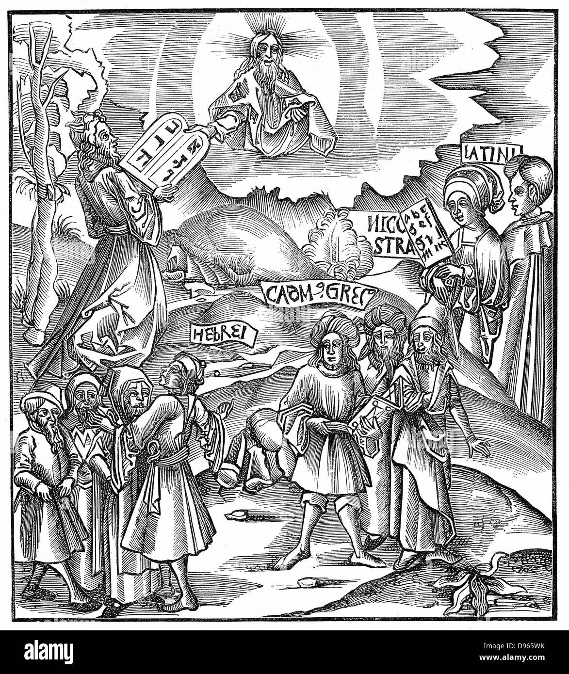 Languages. Moses receiving from God the tablets of the Law in Hebrew. 'Bible' Exodus 34. Central group represents - Stock Image