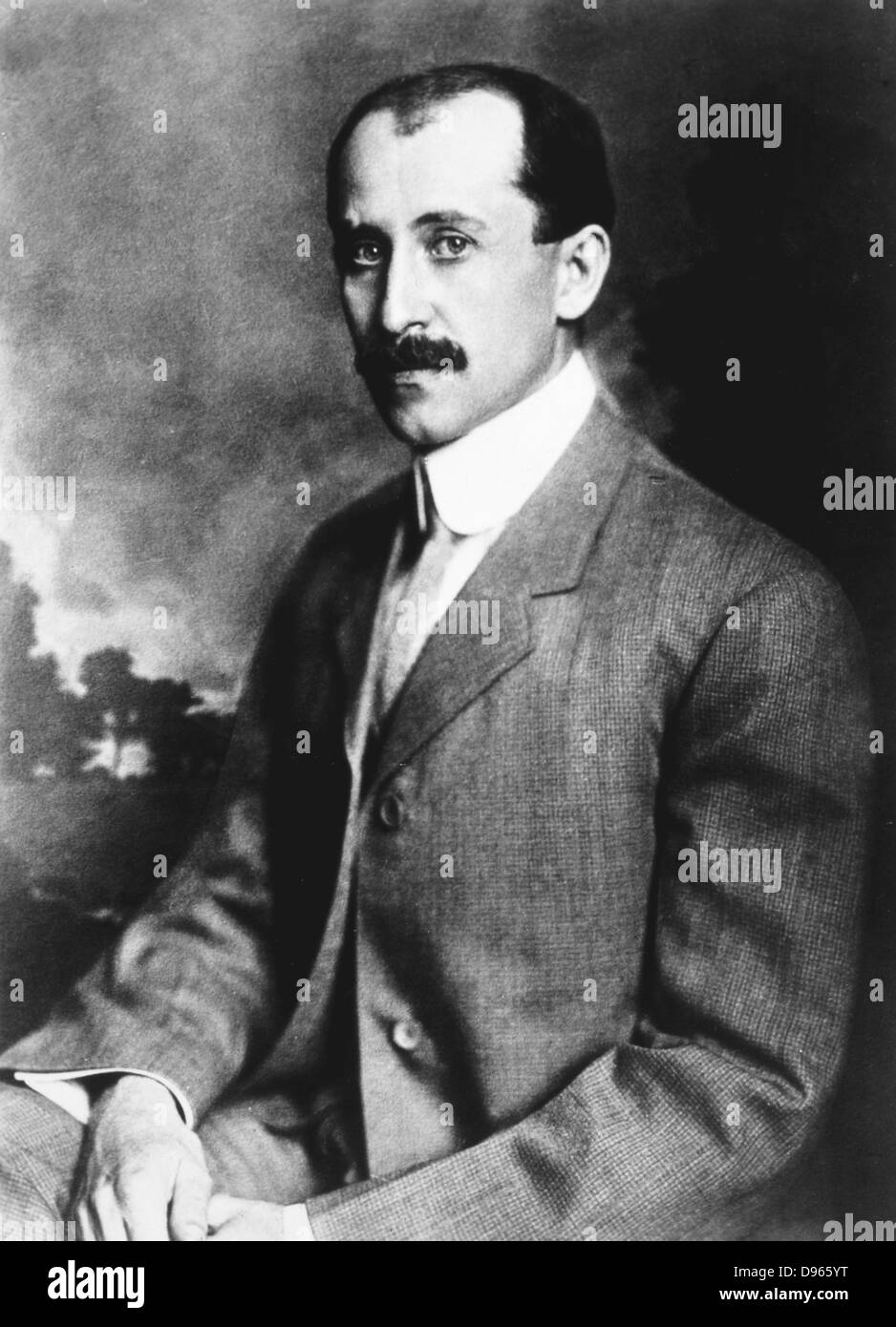 Orville Wright (1871-1948) American aeronautical pioneer,  the  younger of the Wright brothers. Photograph. - Stock Image