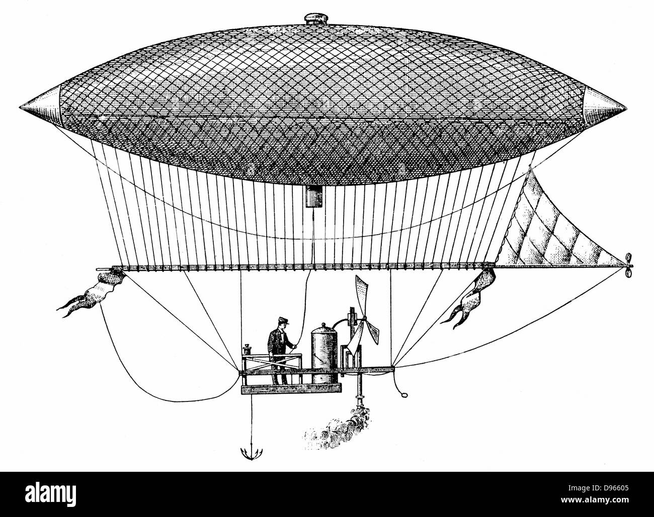 Henri Giffard's (1825-1882) steerable airship of 1852, the first dirigible. Engraving of 1903. - Stock Image