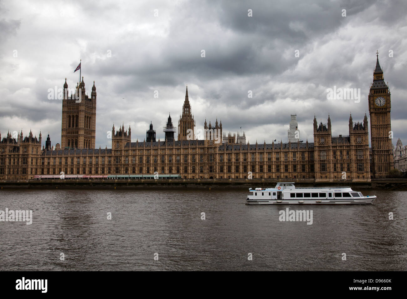 Houses of Parliament River Thames Cruise - London UK - Stock Image