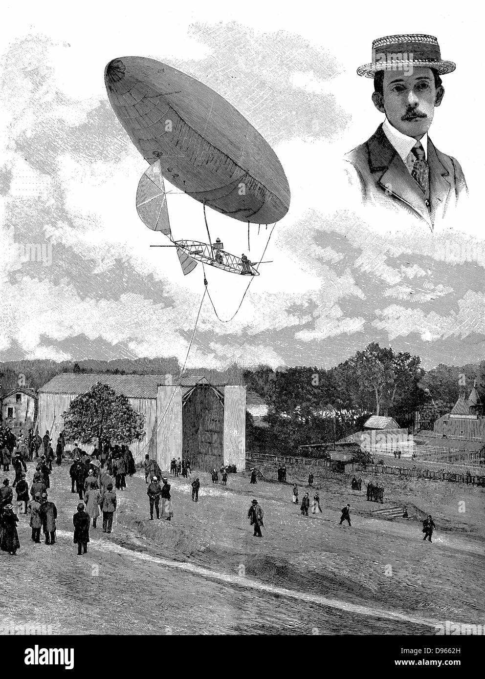 Alberto Santos-Dumont (1873-1932) Brazilian aviation pioneer. Here in his airship (dirigible) No. 6 descending at - Stock Image
