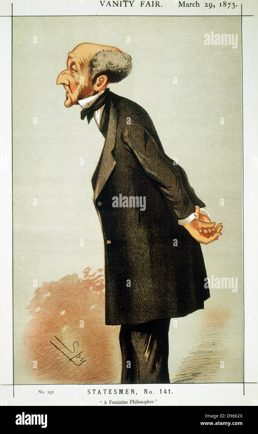 John Stuart Mill (1806-73) British social reformer and philosopher (Utilitarianism). Cartoon by 'Spy' (Leslie - Stock Image