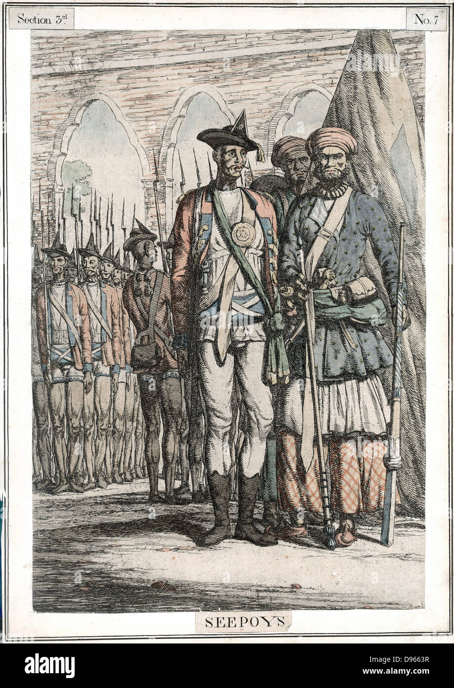 Seypoys, native troops employed by East India Company. It was the Sepoys who began the Indian (Sepoy) Mutiny 1857 Stock Photo