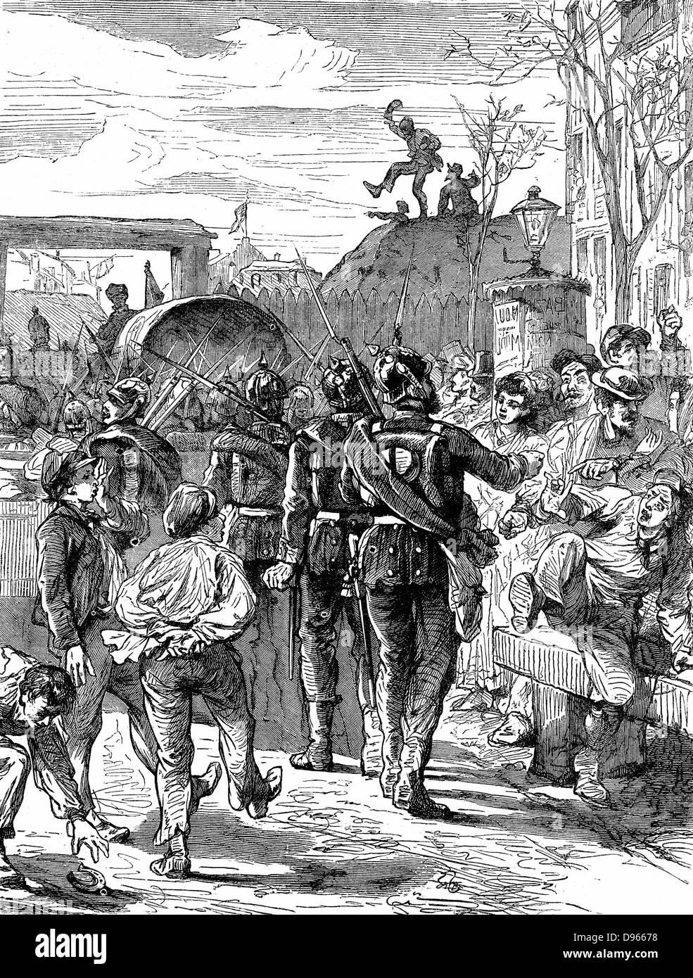 Franco-Prussian War 1870-1871: Germans leaving Paris. Wood engraving c1880 Stock Photo