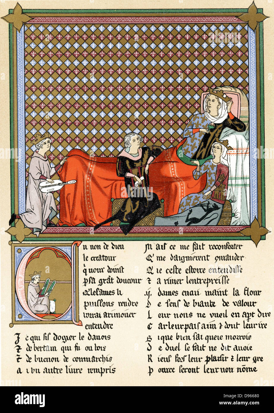 Adenet le Roi (c1240-c1300) 'King of the Minstrels' French poet and musician, reciting 'Roman de Cleomades' - Stock Image