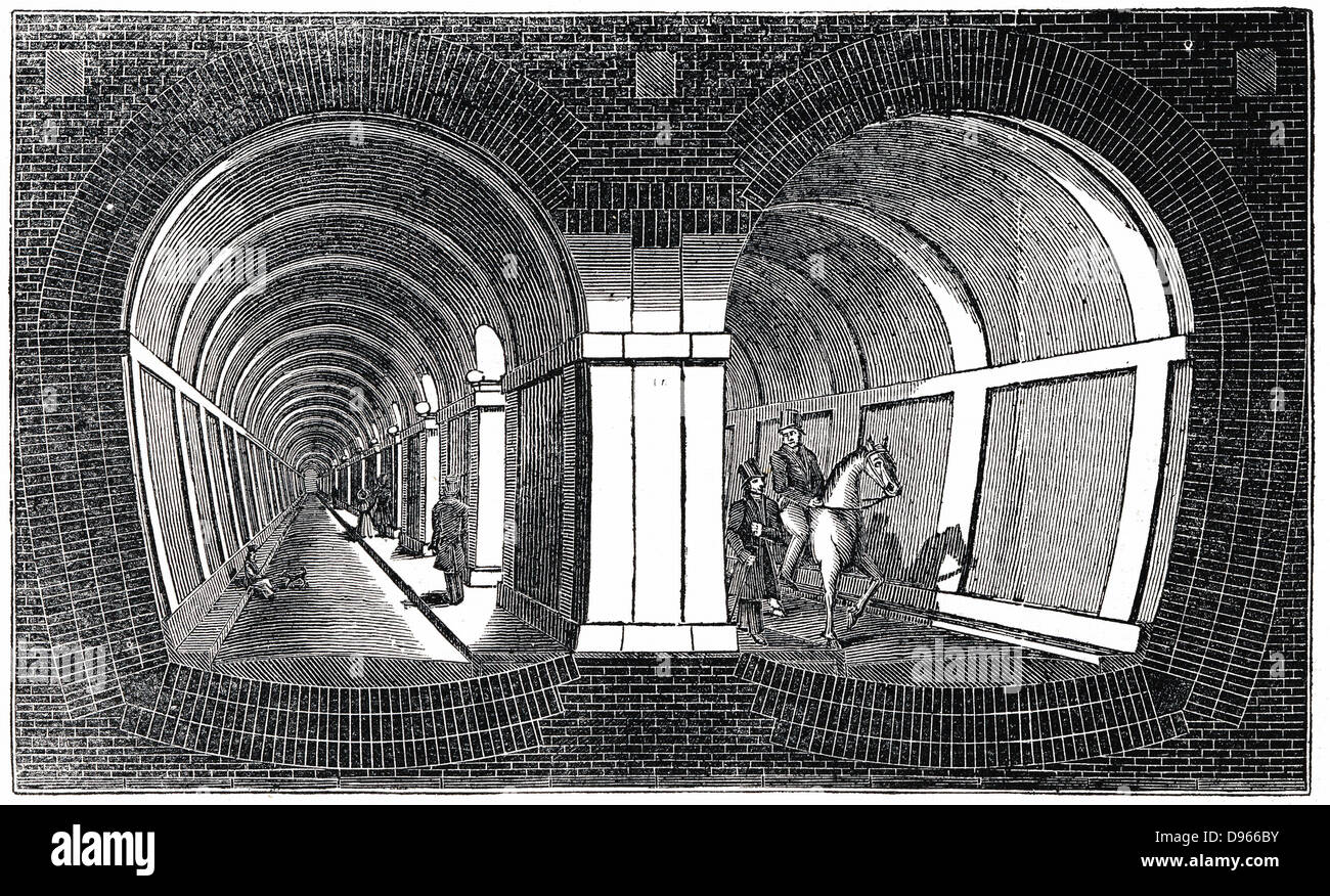 Cross-section showing impression of Marc Isambart Brunel's double arched masonry Thames Tunnel built 1825-1843. Stock Photo