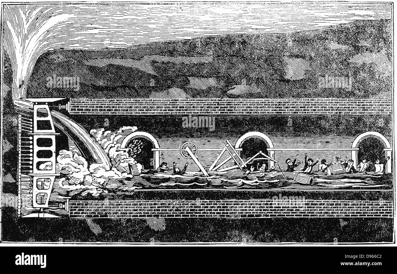 Water breaking through during excavation of Thames Tunnel, 12 January 1828. On this occasion 6 men killed, and Isambard - Stock Image