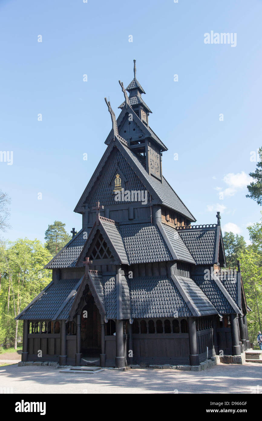 Norwegian Open Air Museum: historic wooden  stave church - Stock Image