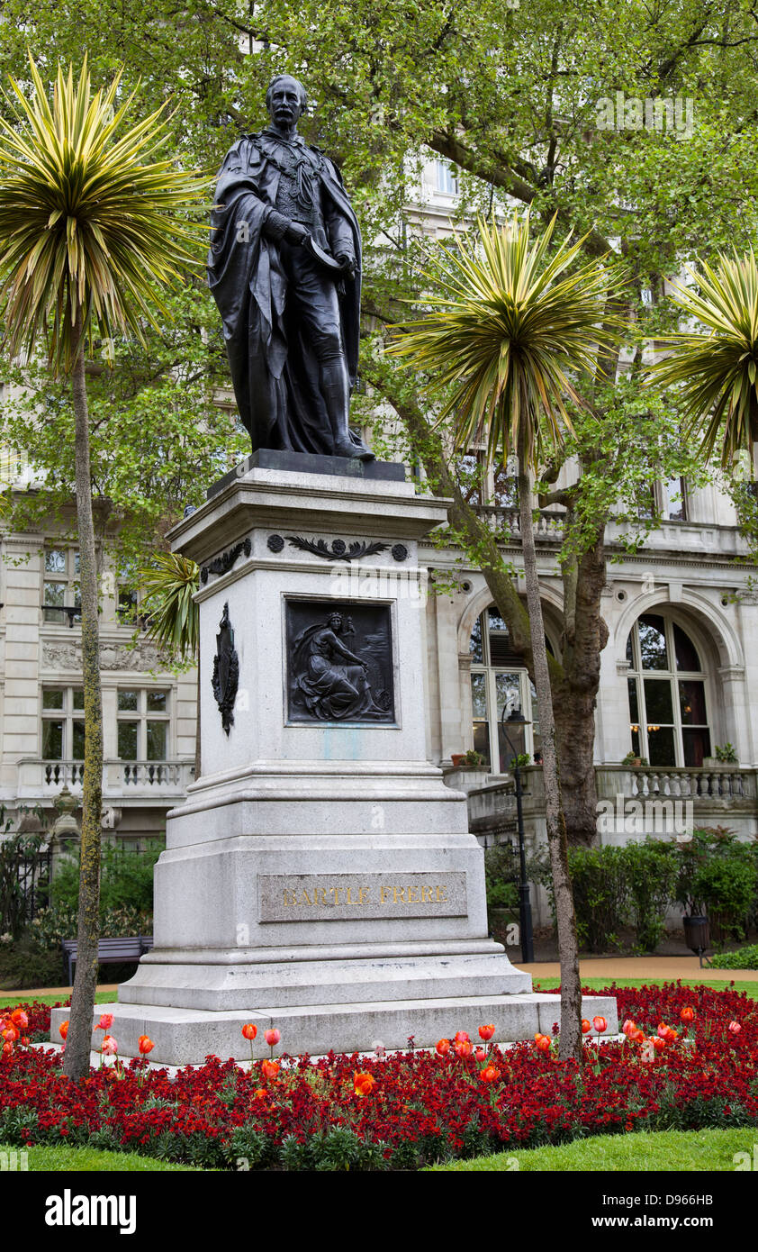 Whitehall Gardens on Victoria Embankment with Bartle Frere Statue - London UK - Stock Image