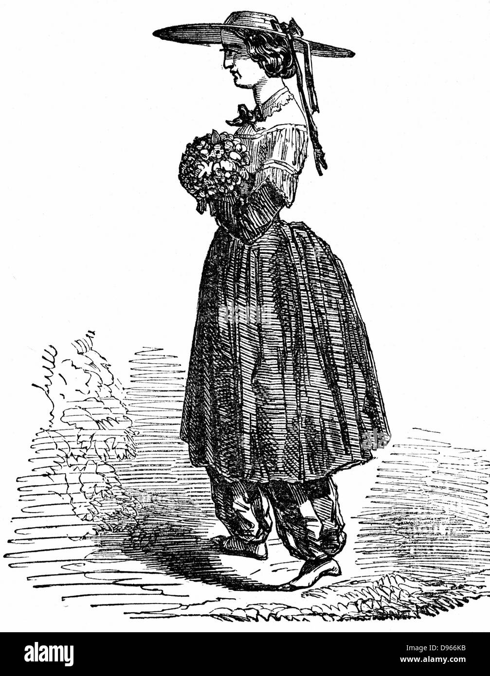 Amelia Bloomer (1818-1894) American feminist and champion of dress reform. The style of dress for women she designed - Stock Image