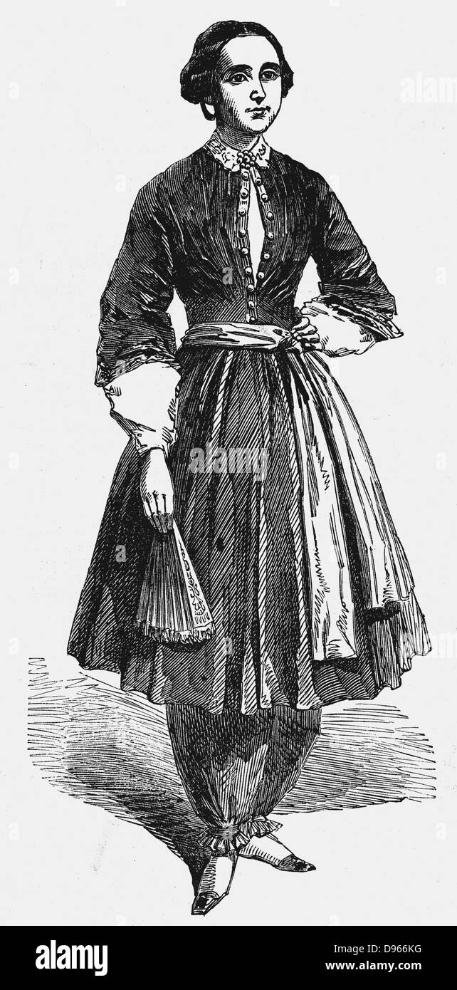 Amelia Bloomer (1818-1894) American feminist and champion of dress reform, wearing her new dress for women. This - Stock Image