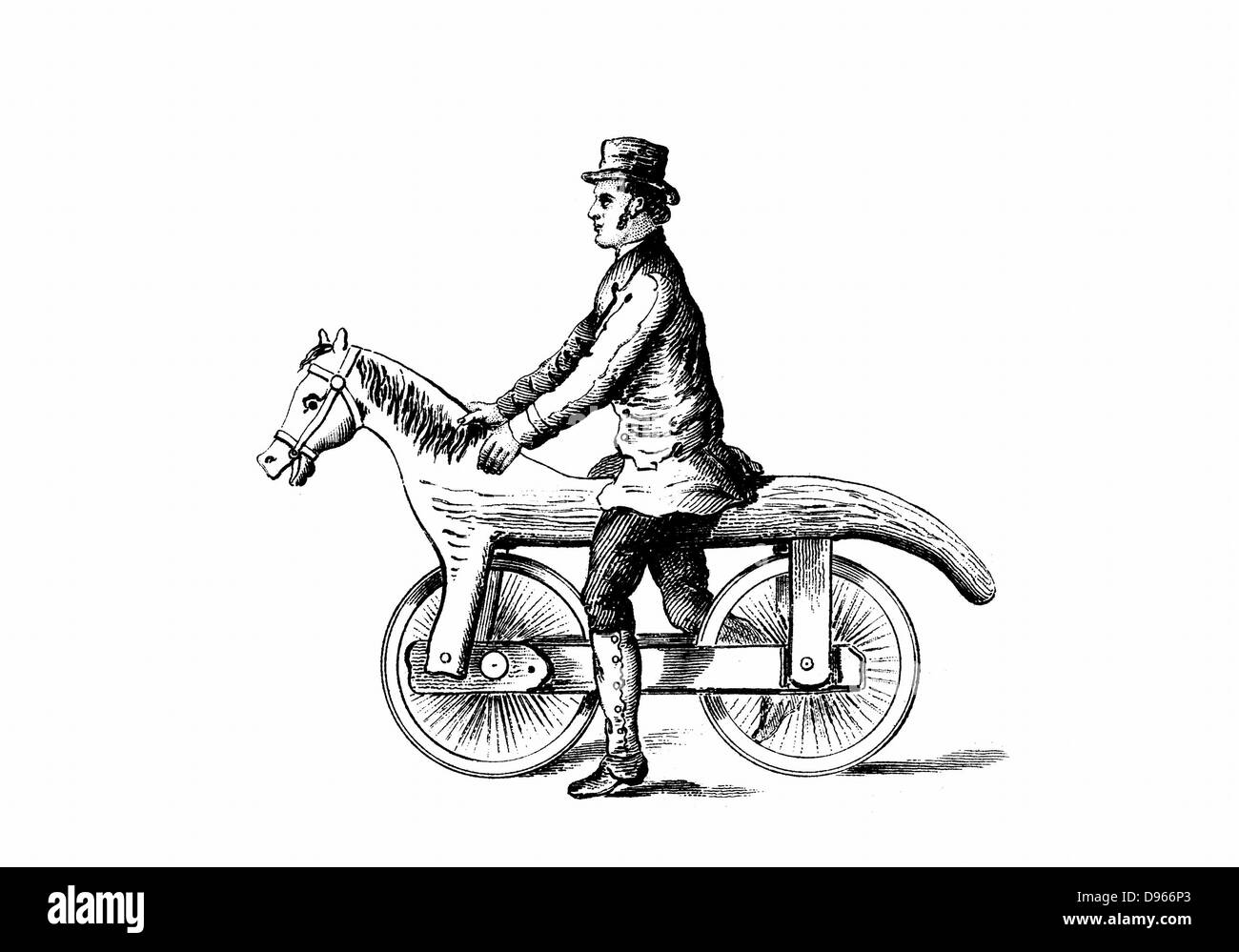 Primitive bicycle, a form of  Dandy-Horse.  Wood engraving c1880. - Stock Image