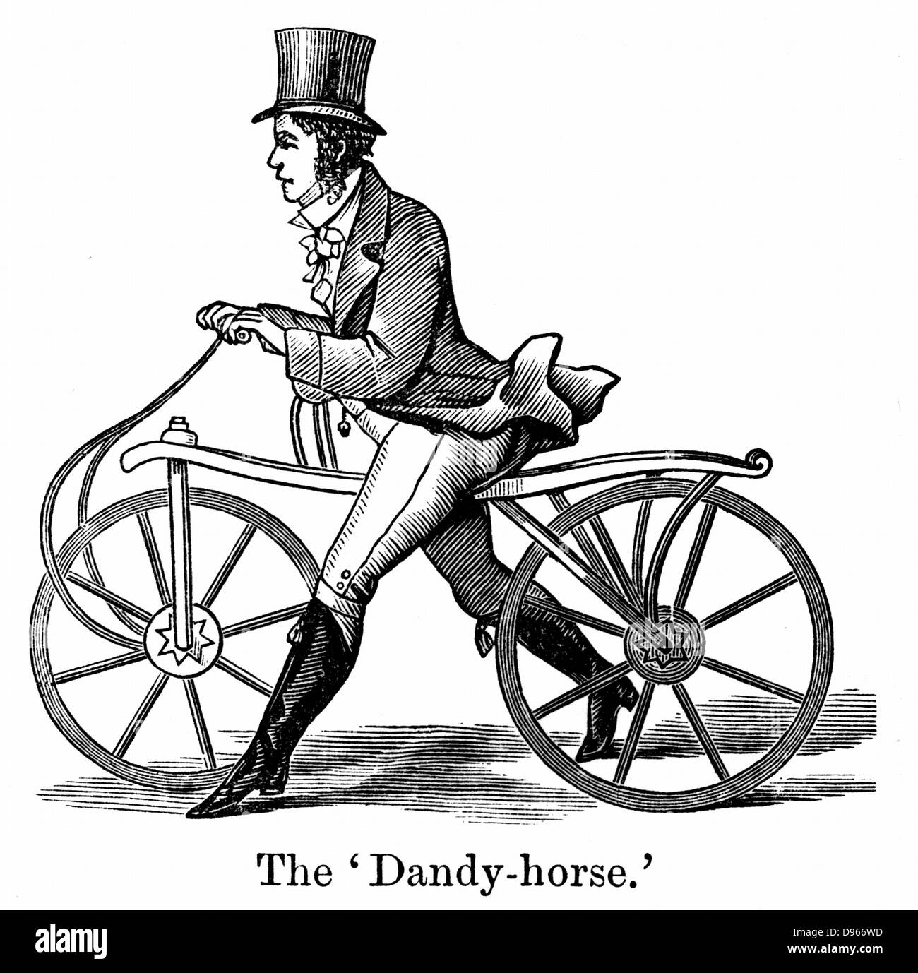 A Dandy-Horse or Draisienne of the type fashionable in about 1820. Woodcut - Stock Image