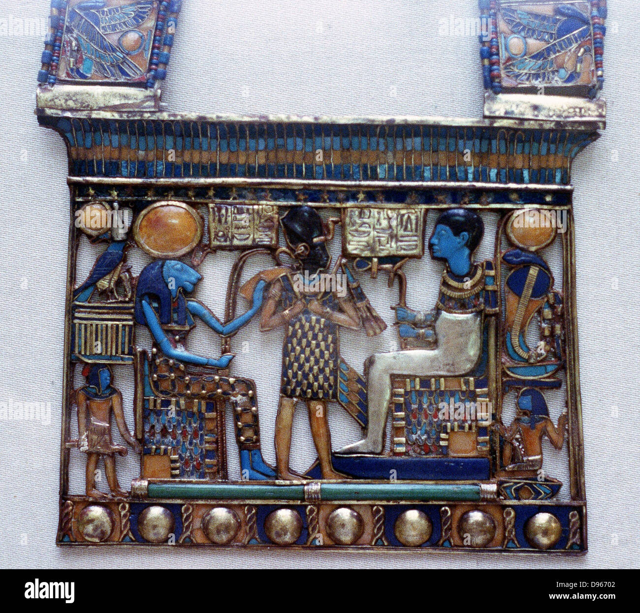 Pectoral jewel from tomb of Tutankhamun showing Ptah, creator of universe and patron of craftsmen, and his consort, - Stock Image