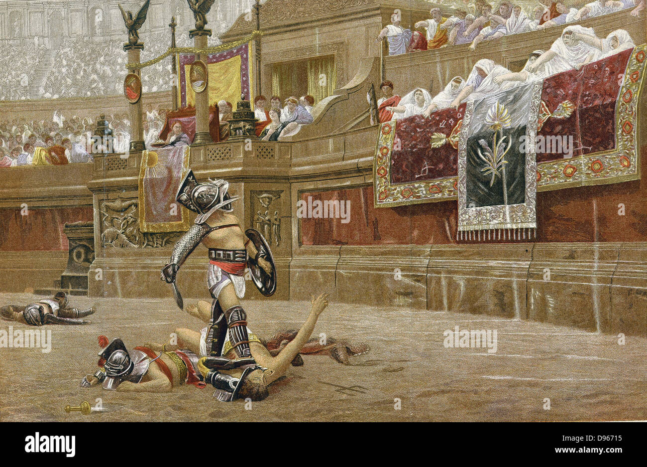 Gladiators in the Roman arena: spectators are giving the 'thumbs down', signalling the victor not to spare - Stock Image