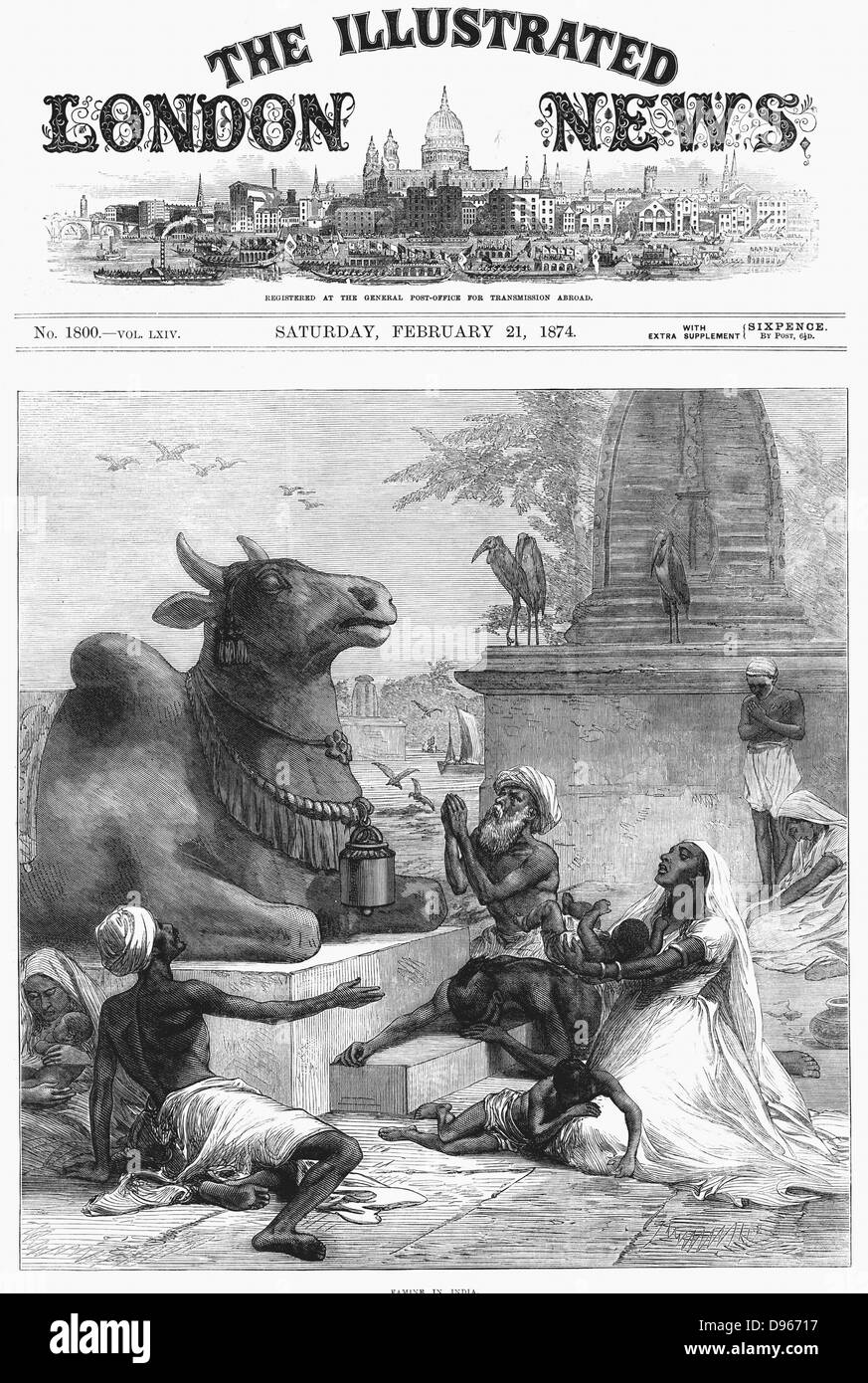 Famine in Bengal, India. Praying to Nandi for relief. Nandi, devotee of Shiva, took the form of a bull. Stone statue - Stock Image