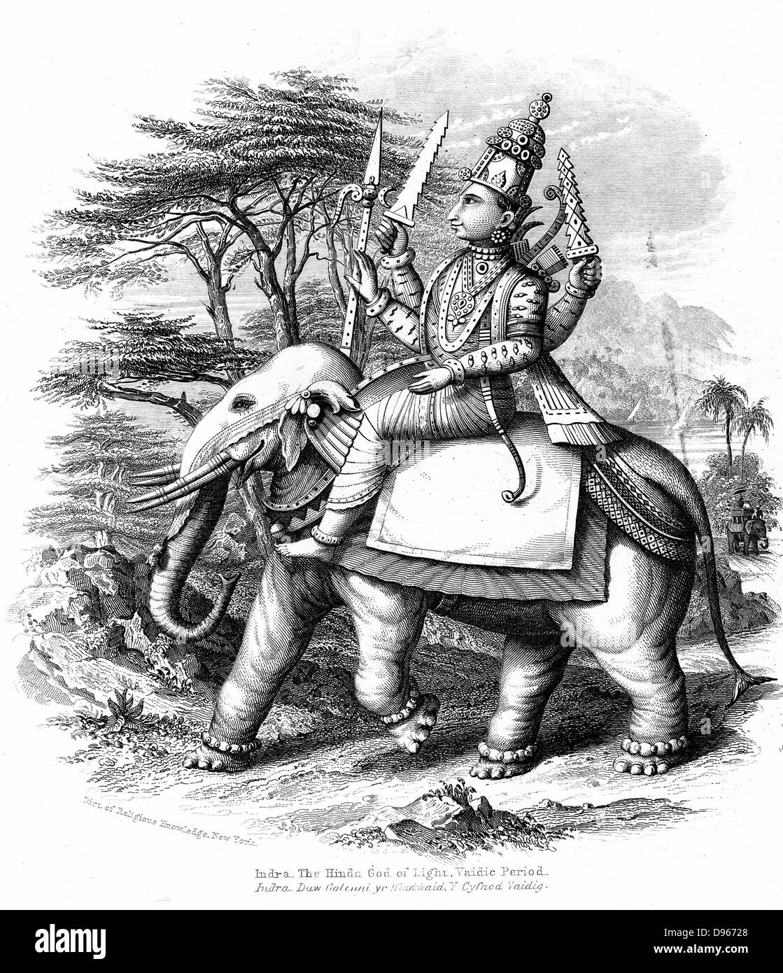 Indra, principal of the Vedic gods of India mounted on his elephant. Engraving c1880 - Stock Image