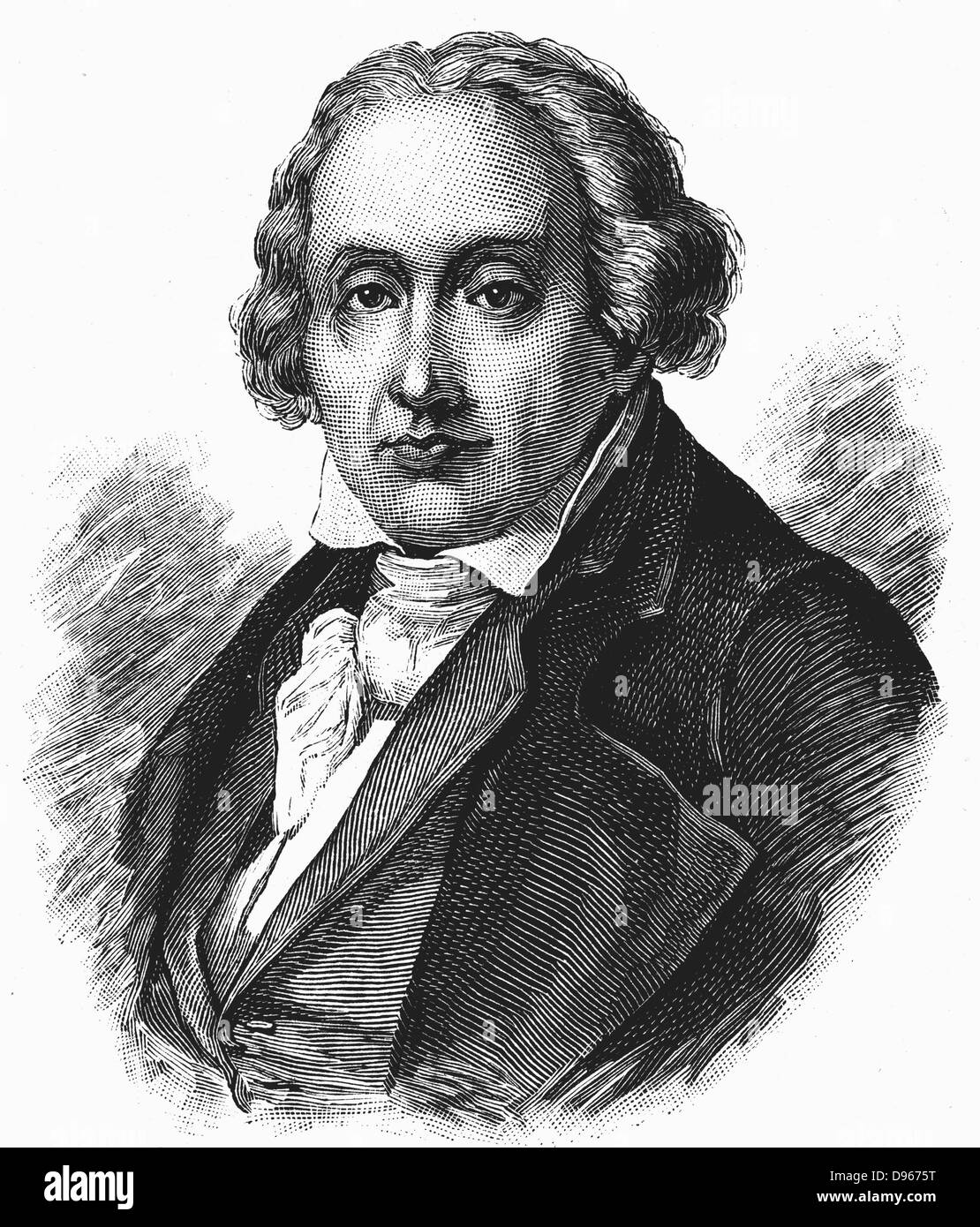 Joseph Marie Jacquard  (1752-1834) French silk-weaver and inventor. Engraving - Stock Image