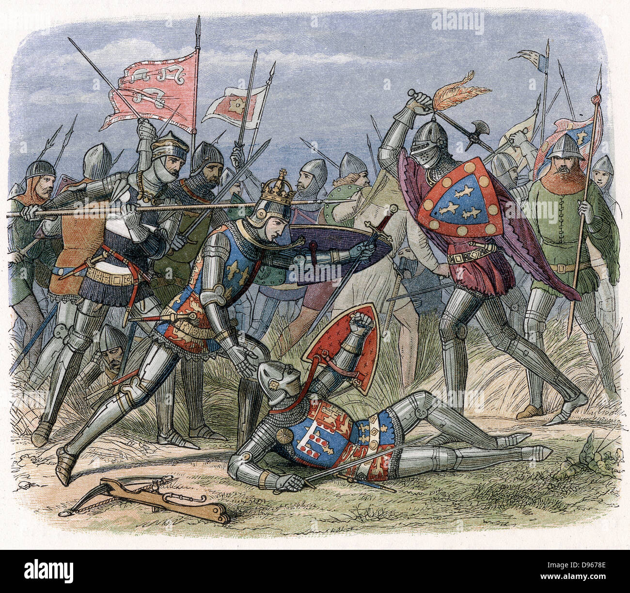 Hundred Years War between England and France (1337-1453) Battle of Crecy, August 1346. Edward III and his son Edward, - Stock Image