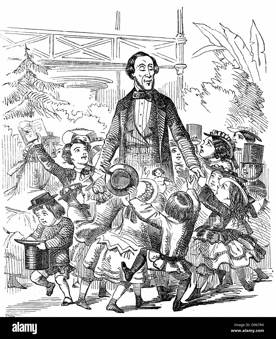 Hans Christian Andersen (1805-1875) Danish author, particularly remembered for his fairy tales. Andersen surrounded - Stock Image