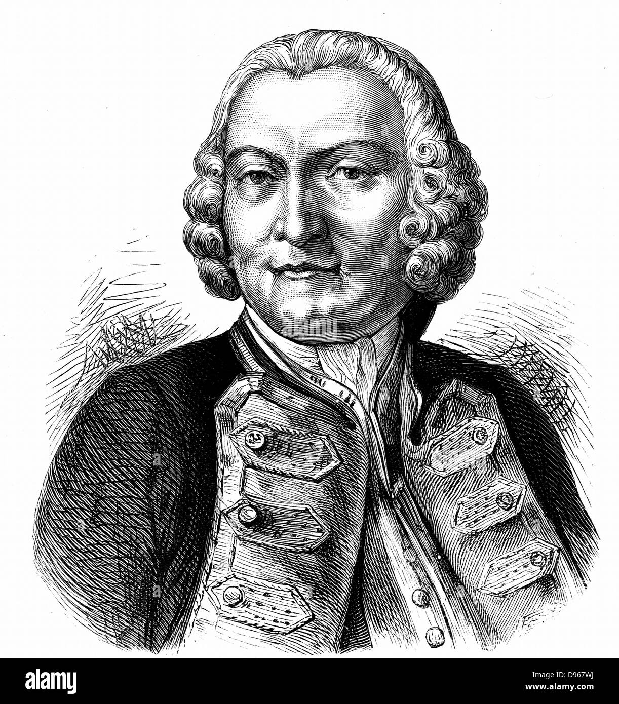 George Anson, Baron Anson (1697-1762) English naval commander. In command of Pacific squadron he circumnavigated - Stock Image
