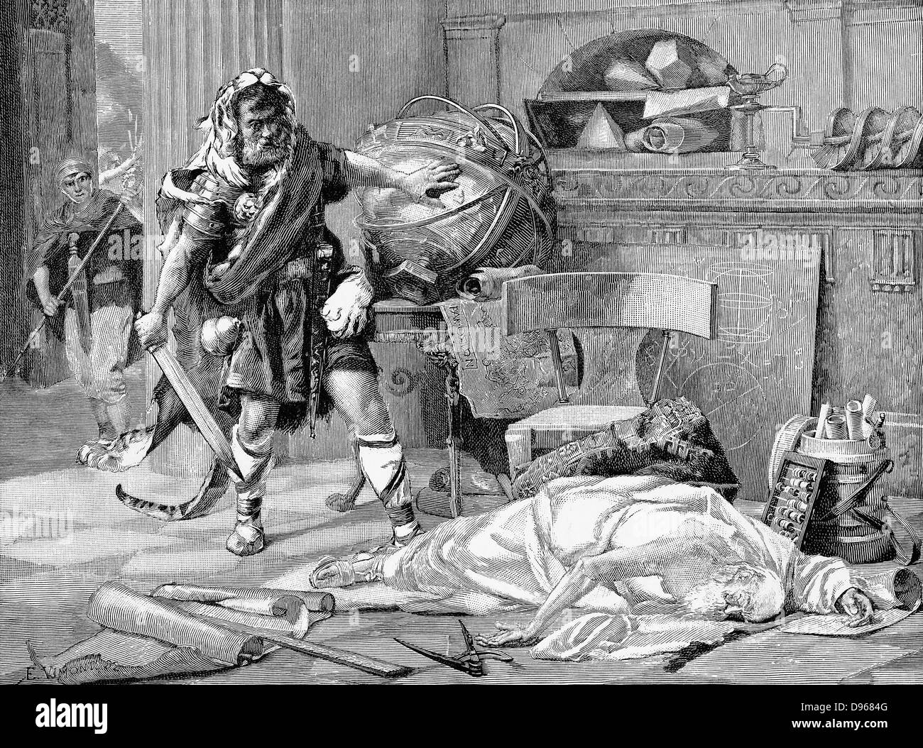 Archimedes (c287-212 BC) Ancient Greek mathematician and inventor. The death of Archimedes at the capture of Syracuse - Stock Image