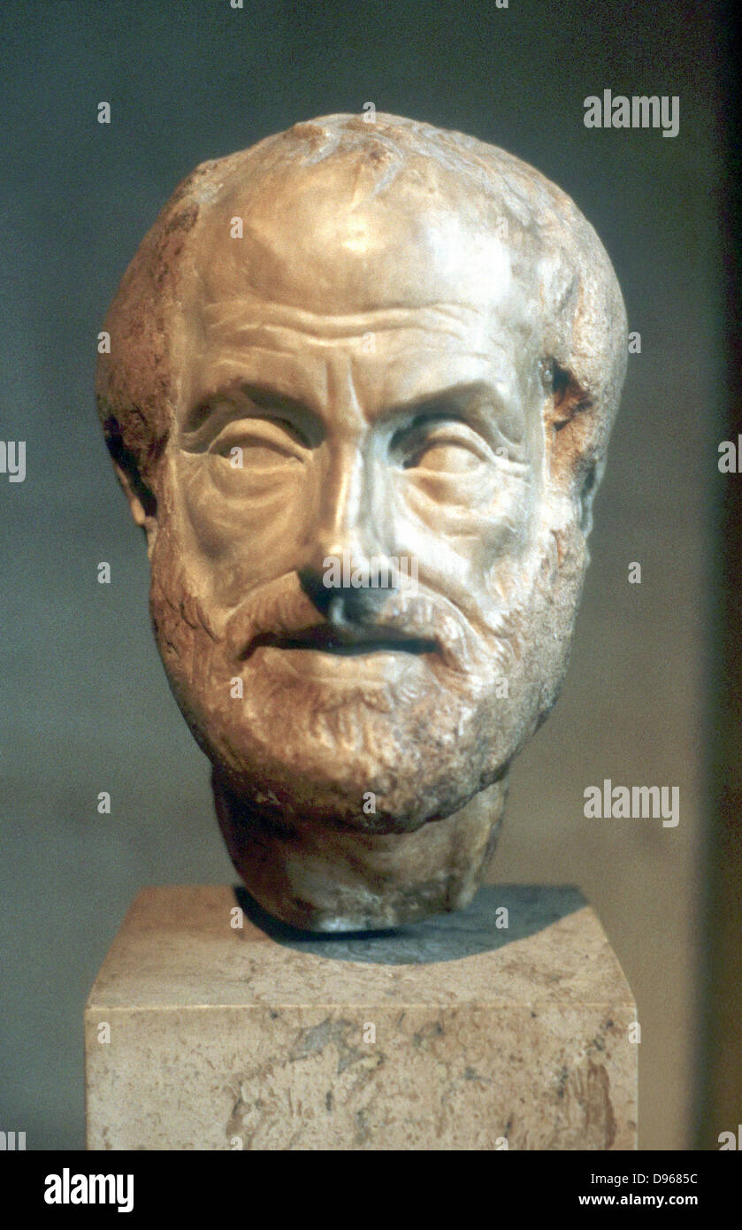 Aristotle (384-322 BC) Ancient Greek philosopher and scientist. Portrait bust - Stock Image