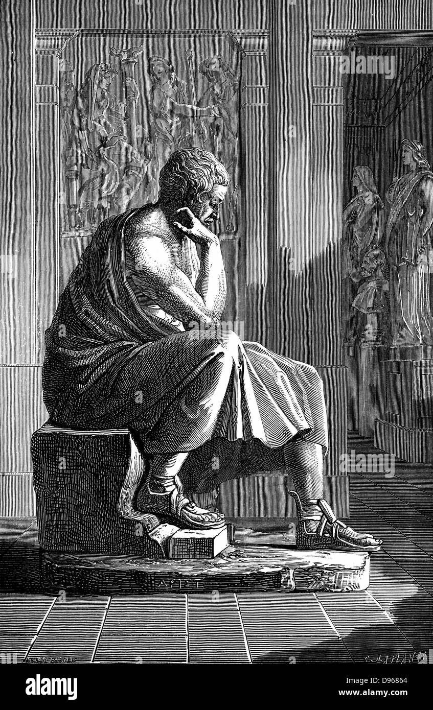 Aristotle  (384-322 BC) Ancient Greek philosopher and scientist.  Engraving after an antique statue. - Stock Image