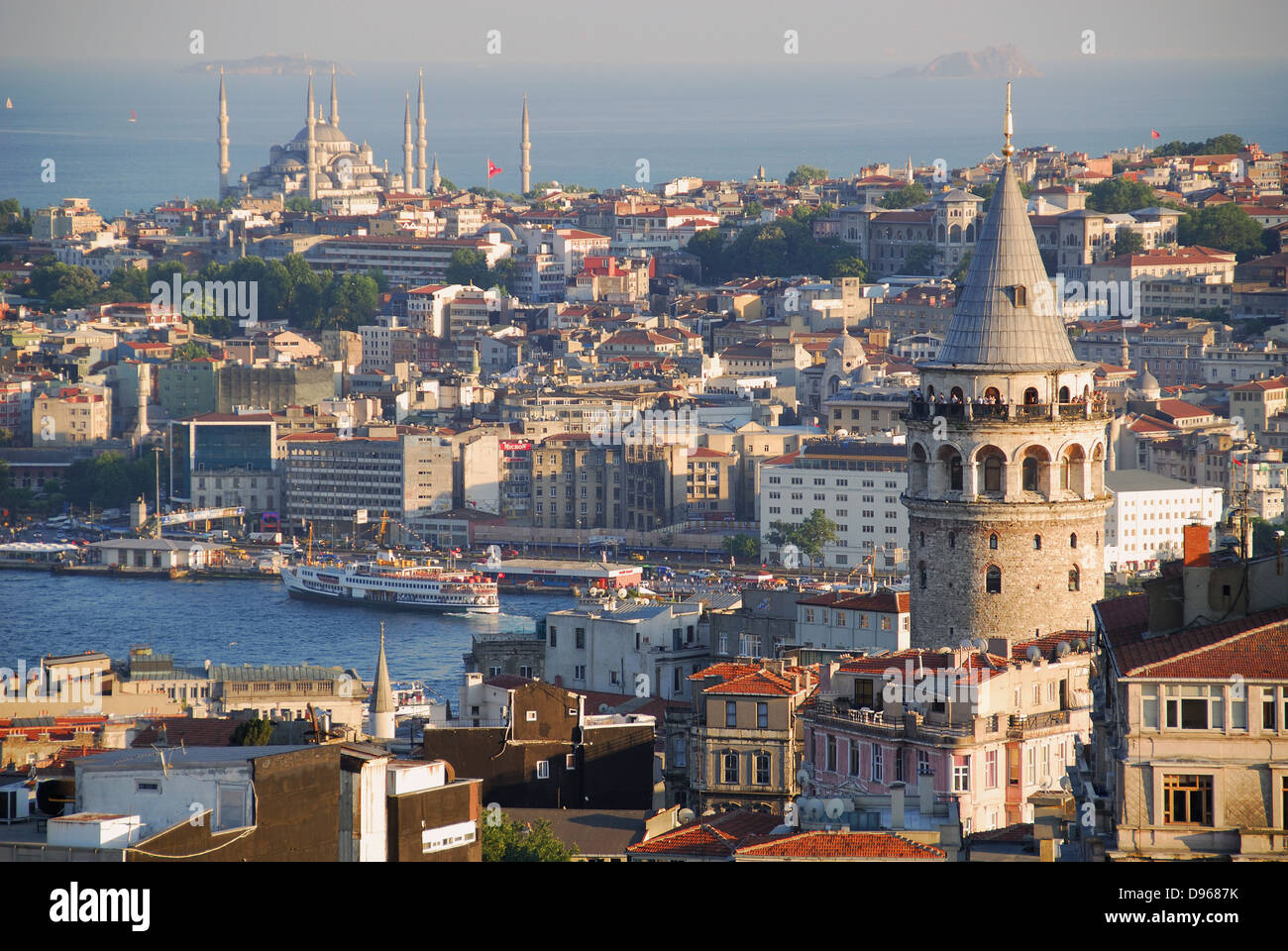 ISTANBUL, TURKEY. An evening view over Beyoglu towards Sultanhahmet district, with the Galata Tower on the right. - Stock Image