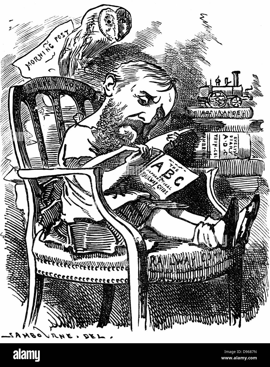 Evelyn Ashley (1836-1907) English author and Liberal politician; son of 7th Earl of Shaftesbury. Cartoon by Edward - Stock Image