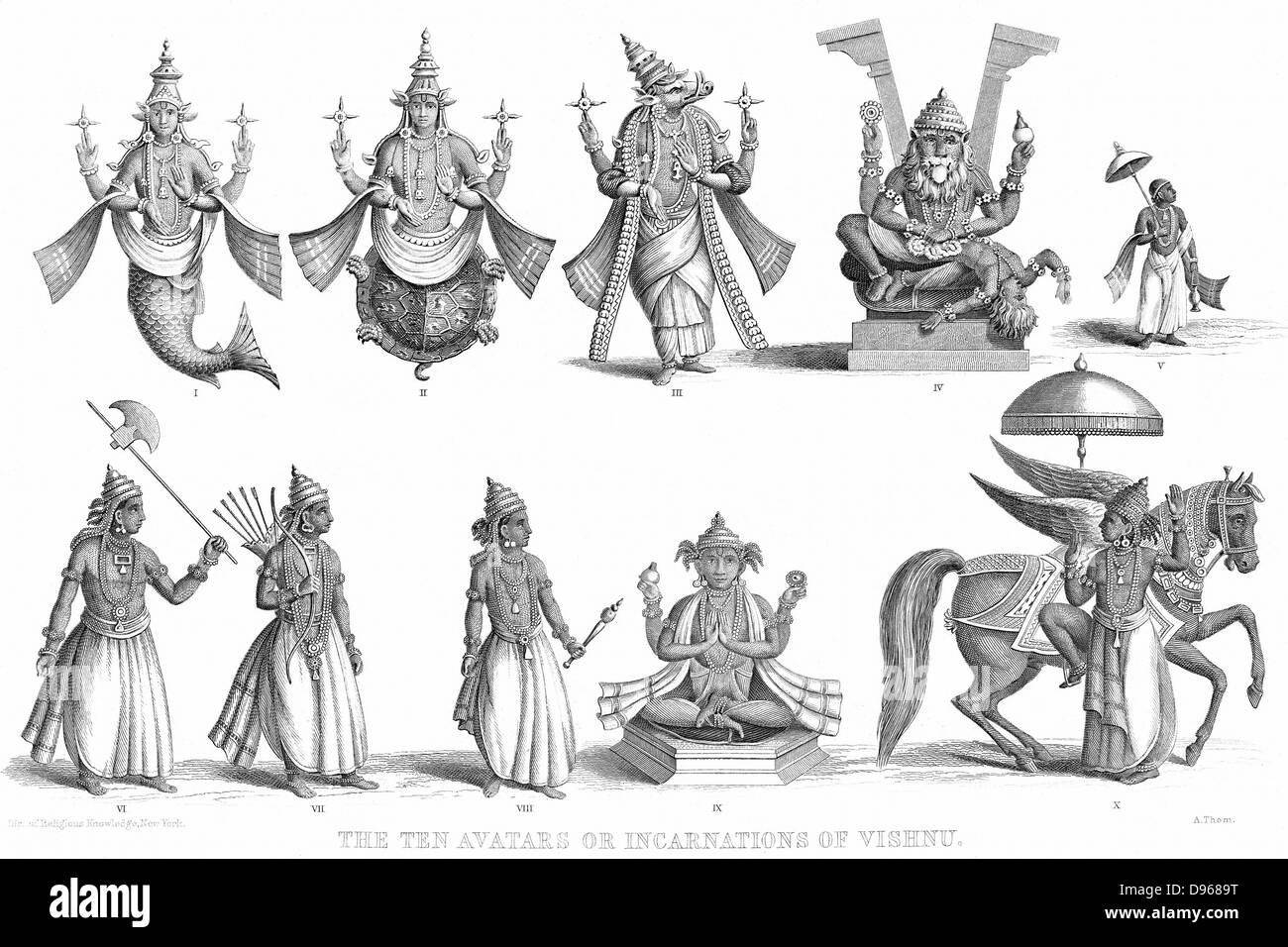 Vishnu, one of gods of the Hindu Trinity (Trimurti) in his ten incarnations or avatars. Engraving c1880 - Stock Image