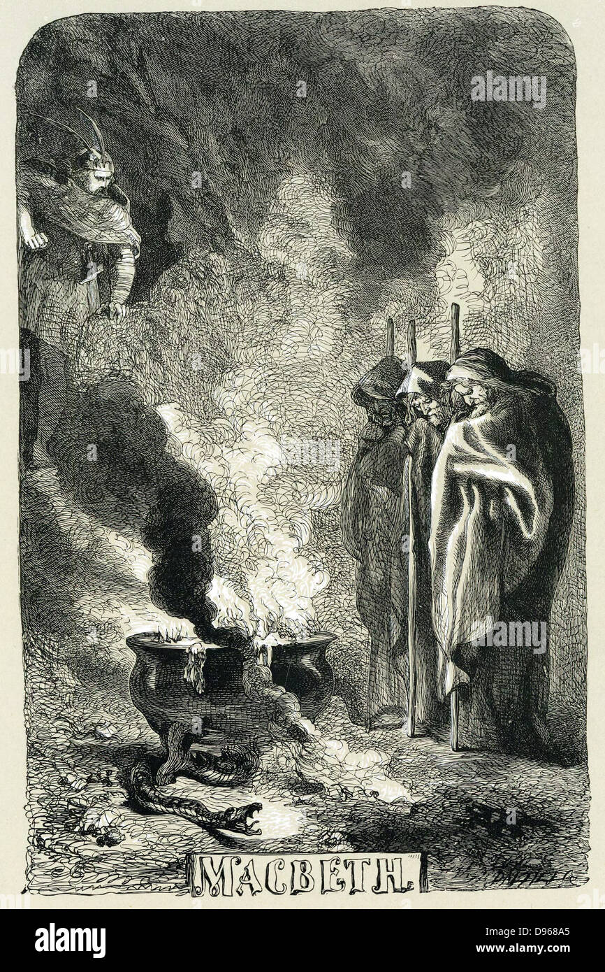 Macbeth visiting the Three Witches on the blasted heath. Title page by Sir John Gilbert for 'Macbeth' in - Stock Image