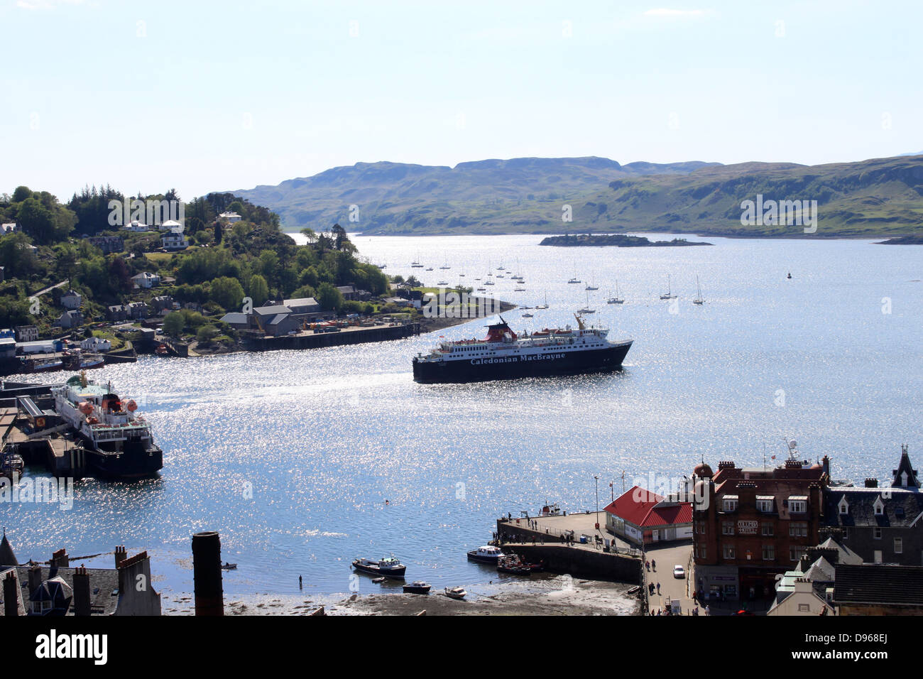 Isle of Mull (ferry operated by Caledonian MacBrayne) leaving Oban harbor with a sailing to Craignure on the Isle - Stock Image