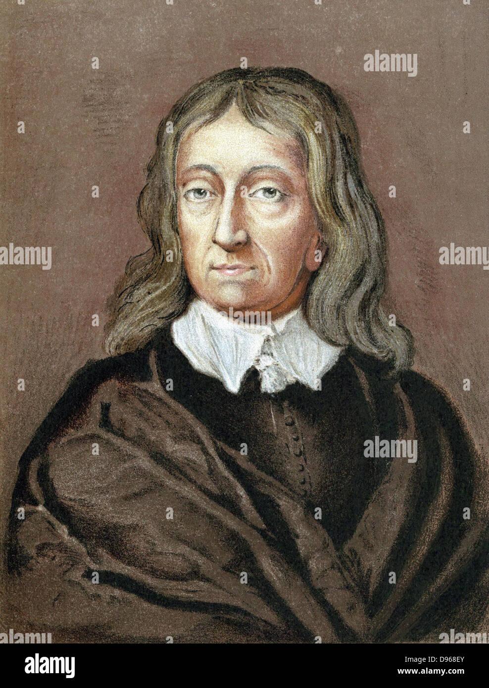 John Milton (1608-74) English poet. Chromolithograph after crayon portrait by William Fairthorne (1616-91) - Stock Image
