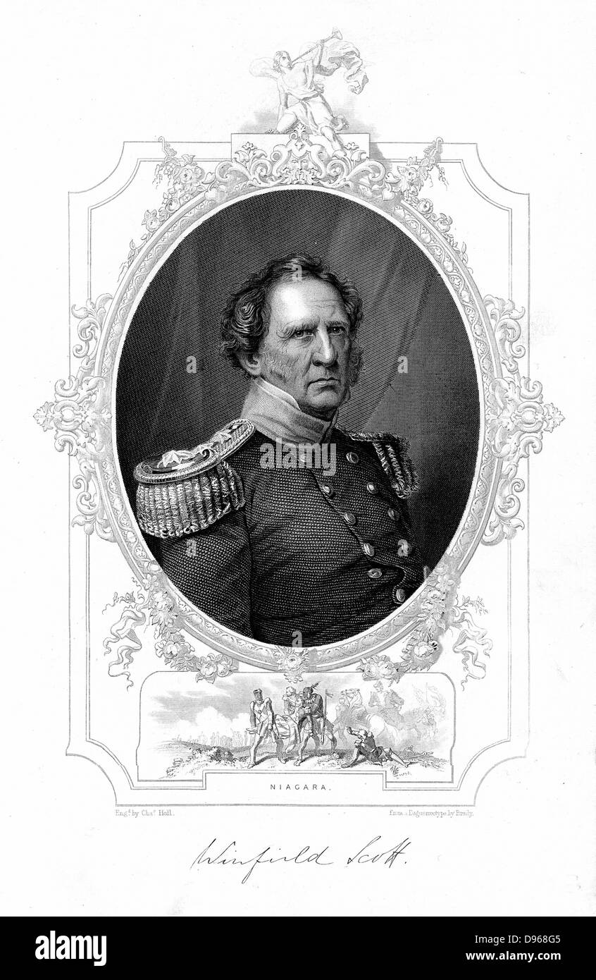 Winfield Scott (1786-1866). American soldier. Chief of Command of the army 1841-1861. Engraving - Stock Image