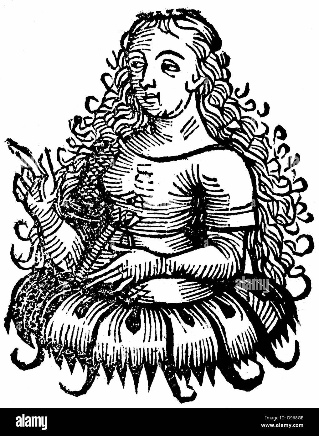 Cimmerian Sibyl: From Hartmann Schedel 'Liber chronicarum mundi' (Nuremberg Chronicle) Nuremberg 1493. Woodcut - Stock Image