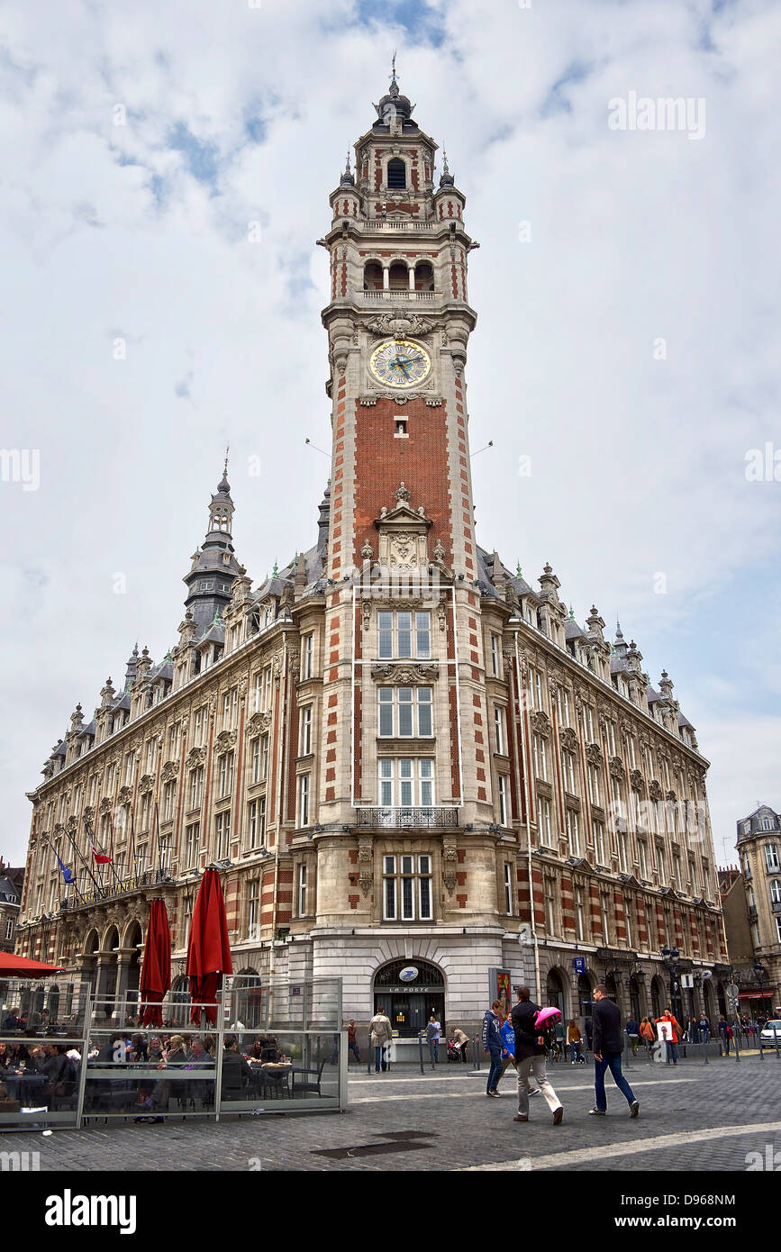 The belfry of the Chamber of Commerce - Lille, Northern France - Stock Image