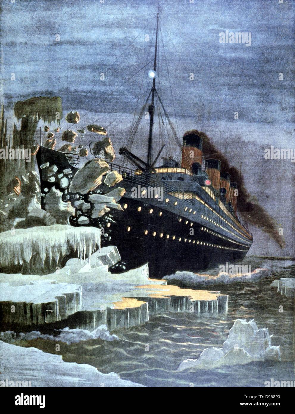 SS Titanic colliding with an iceberg 14 April 1912. From 'Le Petit Journal' Paris 28 April 1912 - Stock Image