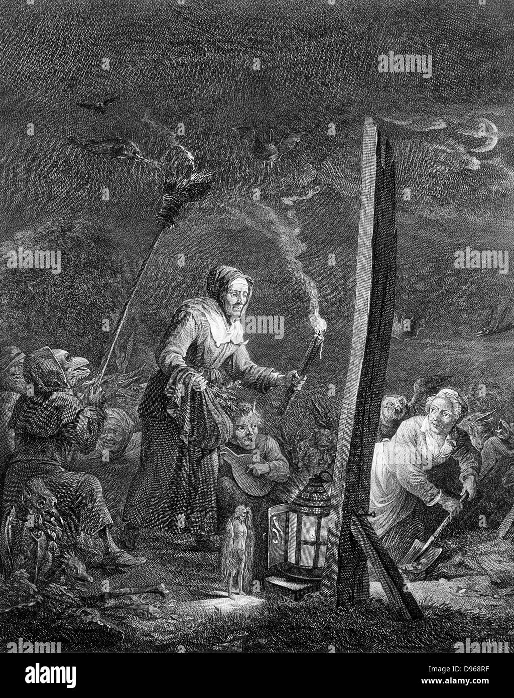 The Witches' Sabbath. Engraving after David Teniers the Younger (1610-1690) - Stock Image