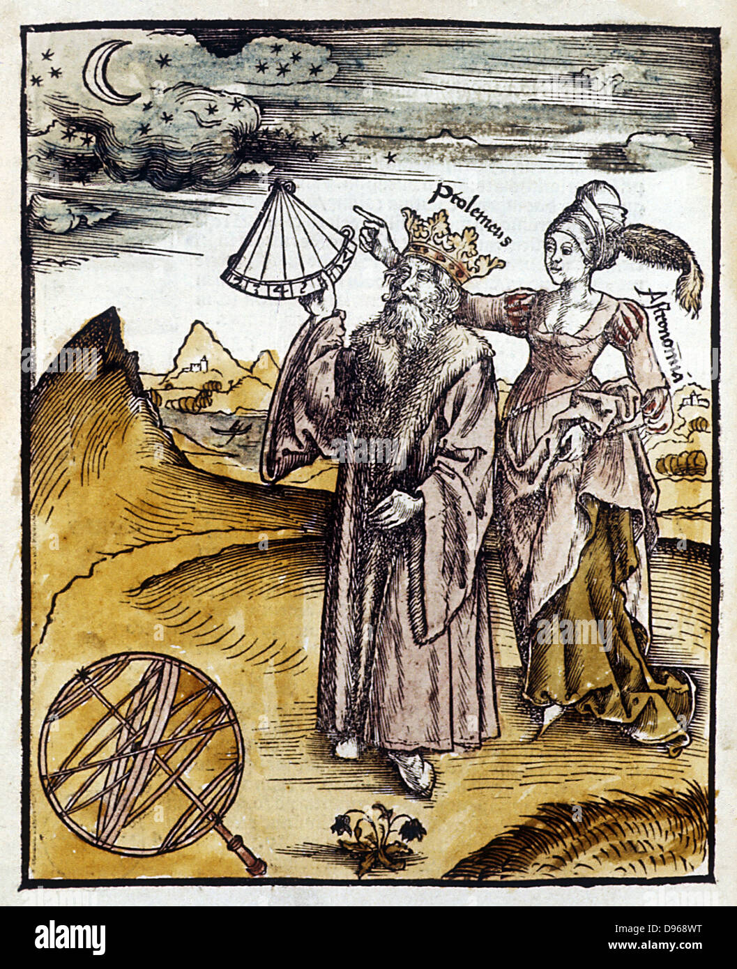 Ptolemy (Claudius of Ptolemaeus) active 150 AD, Alexandrian Greek astronomer and geographer, using quadrant to observe Stock Photo