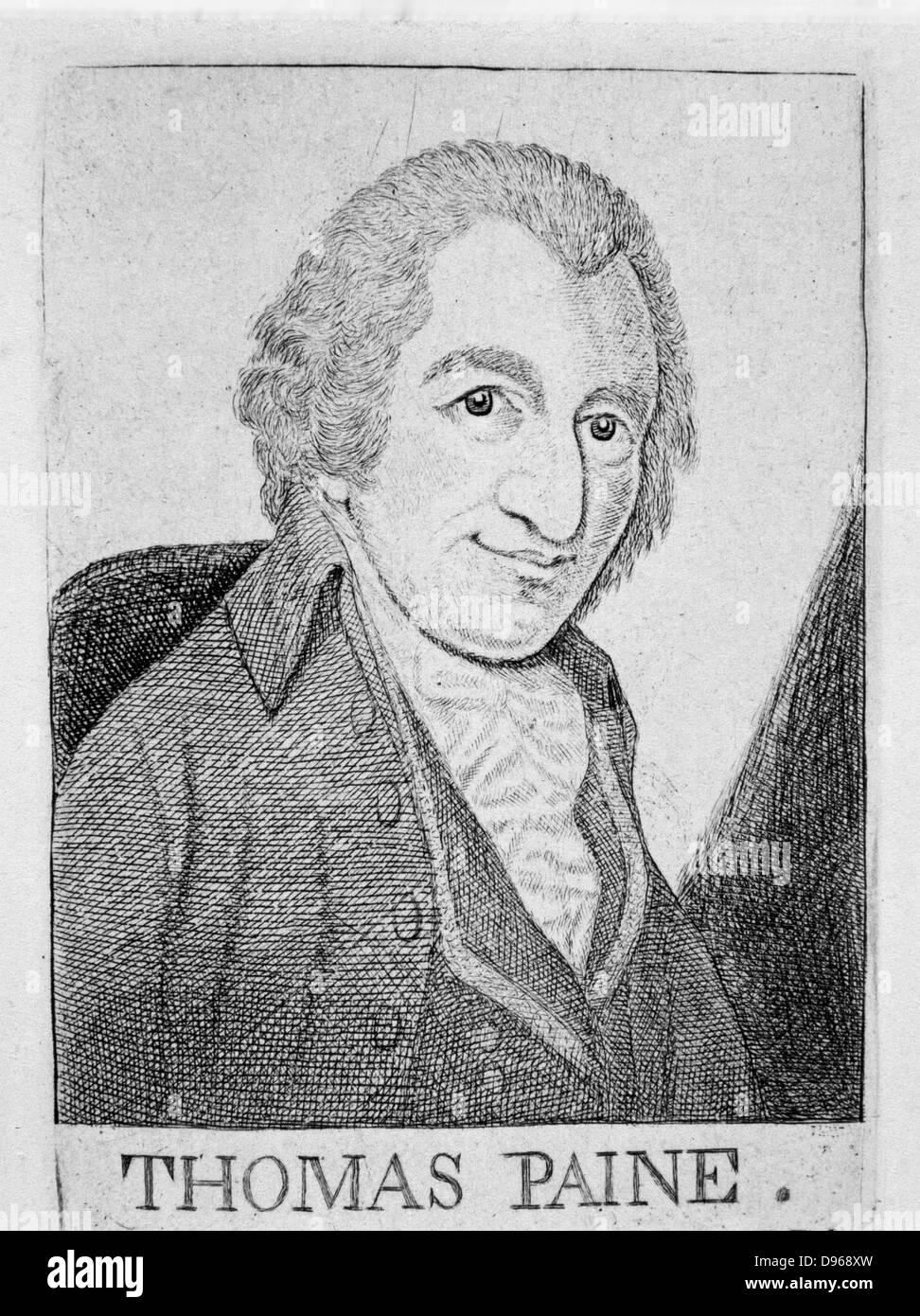 Thomas Paine (1737-1809) English-born American revolutionary, writer and philosopher. From John Kay 'Original - Stock Image
