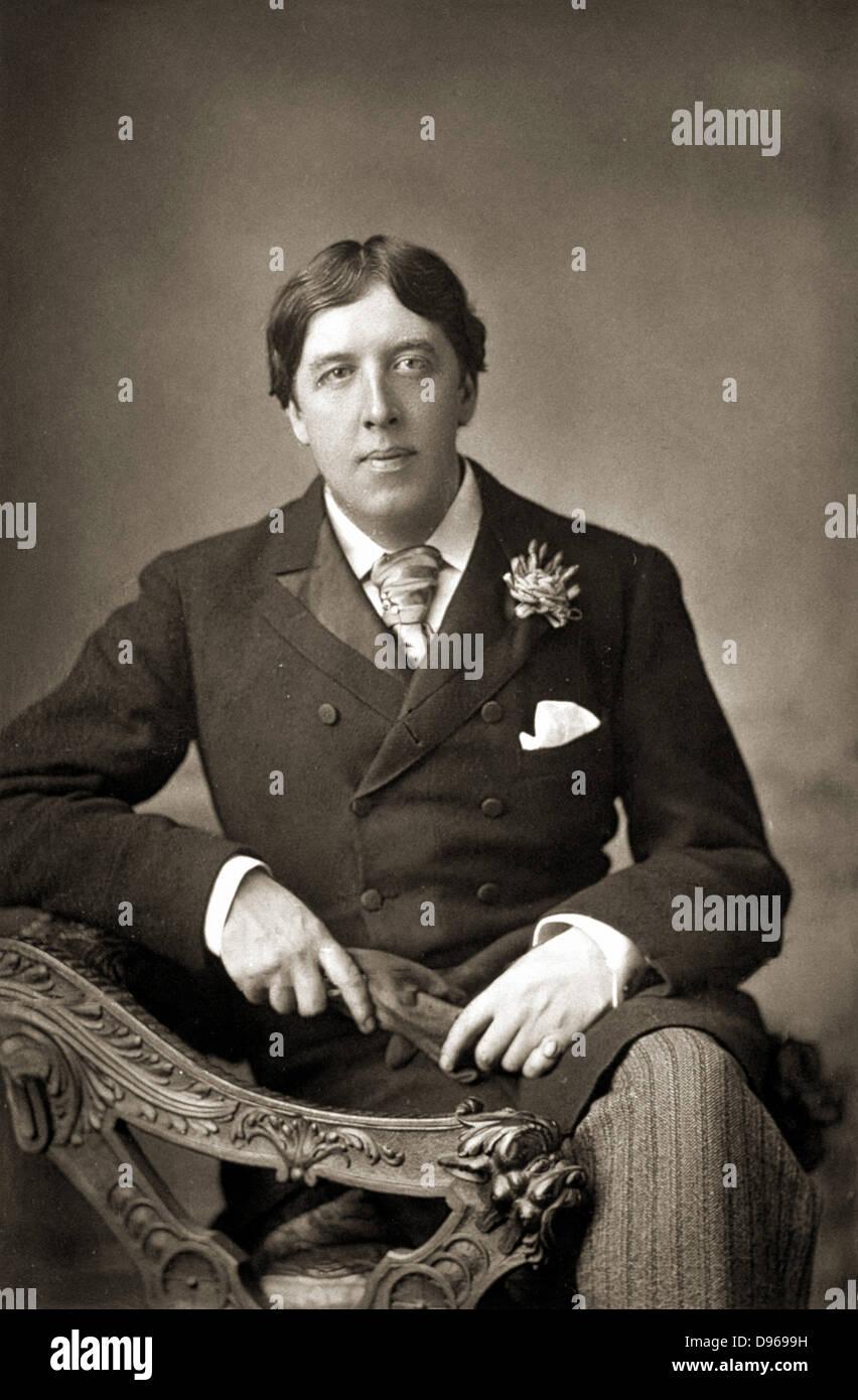 Oscar WiIde (1854-1900) Irish writer, wit and playwright. Photograph published c1890 - Stock Image