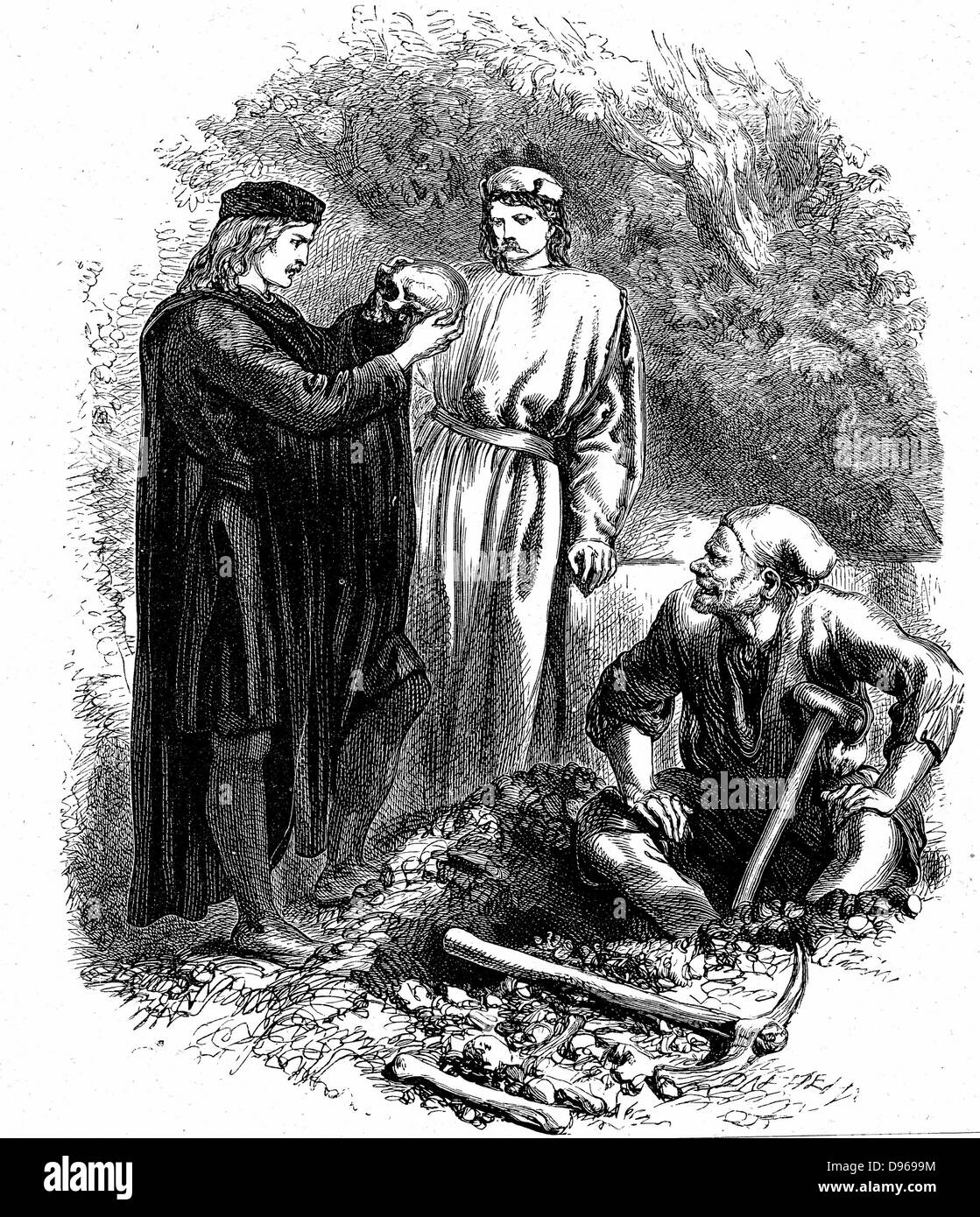 Alas, poor Yorick! I knew him, Horatio' Hamlet in the graveyard with Horatio and the clown, examines Yorick's - Stock Image