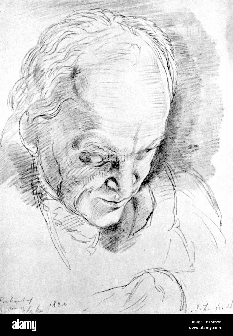 William Blake (1757-1827) in 1824 English mystic, poet, painter and engraver - Stock Image